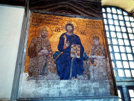 Constantino y Zoe adorando a Cristo (Sta Sofía)